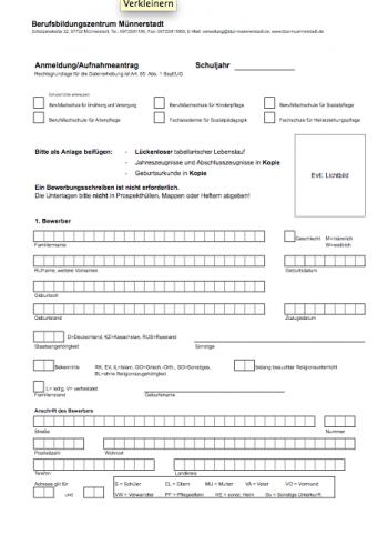 BBZ Muennerstadt: Anmeldeformular
